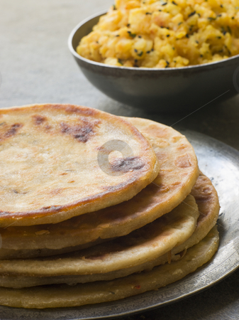 Aloo stuffed Parathas stock photo, Plate of Aloo stuffed Parathas by Monkey Business Images