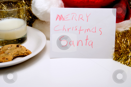 Merry Christmas Santa stock photo, A child's note to Santa Claus on Christmas Eve. by Robert Byron