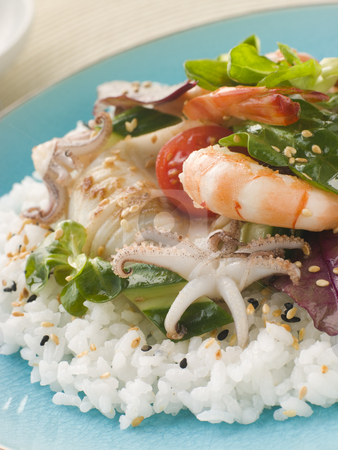 Seafood Sushi Salad stock photo, Plate of Seafood Sushi Salad by Monkey Business Images