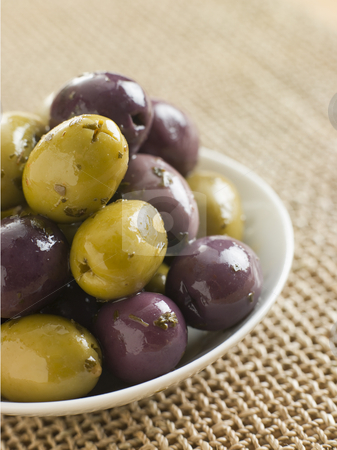 Dish of marinated Olives stock photo,  by Monkey Business Images