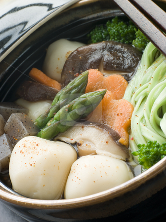 Fish Ball Stew Pot with Vegetables and Spinach Noodles stock photo, Close up of Fish Ball Stew Pot with Vegetables and Spinach Noodles by Monkey Business Images