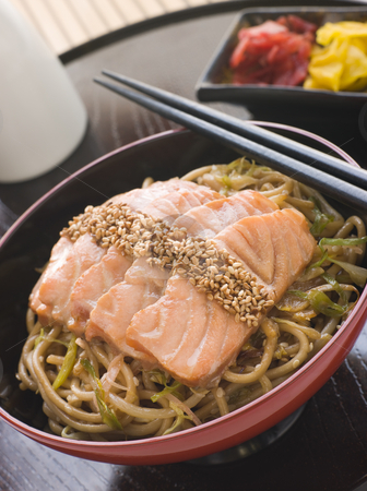 Sesame Crusted Salmon Fried Noodles and Pickles stock photo, Bowl of Sesame Crusted Salmon Fried Noodles and Pickles by Monkey Business Images