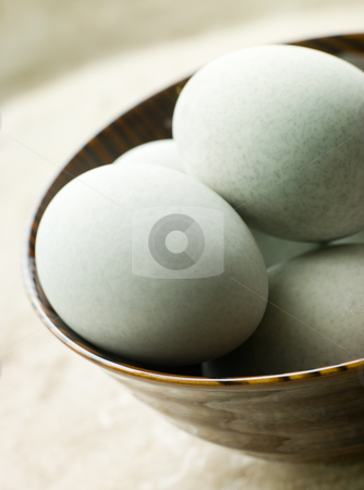 Bowl of 1000 Year Salted Eggs stock photo, Wooden Bowl of 1000 Year Salted Eggs by Monkey Business Images
