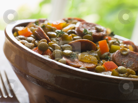 Green Lentil and Chorizo Sausage Stew stock photo,  by Monkey Business Images