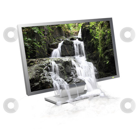 Waterfall flowing screen stock photo, Waterfall flowing from a landscape displayed on a computer monitor by Tilo