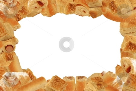 Bakery frame stock photo, 3:2 format landscape frame of different bread and pastry goods without any drop shadows isolated on white by Milsi Art