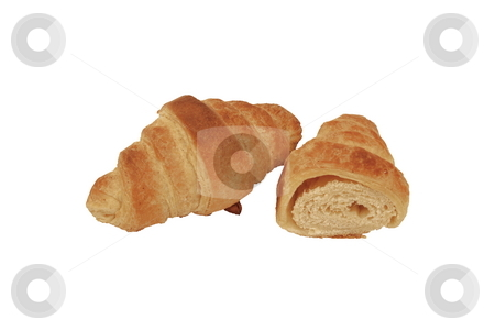 Croissant cut stock photo, Croissant cut isolated on white background by Milsi Art