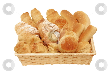 Bread and Pastry stock photo, Bread and Pastry in the basket isolated on white background by Milsi Art