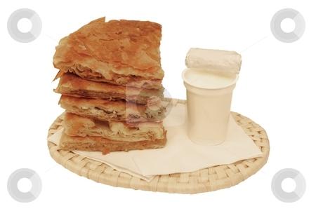 Breakfast option stock photo, Round burek slices with yoghurt. Breakfast option isolated over white background by Milsi Art