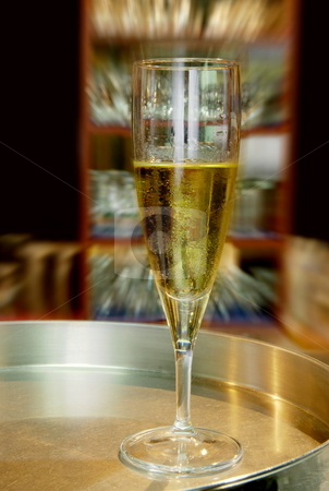White wine stock photo, White wine on a silver plate with movement effect by Milsi Art