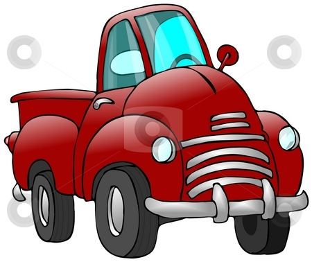 Old Red Truck stock photo, This illustration depicts an old red pickup truck. by Dennis Cox