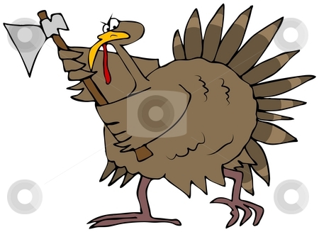Angry Turkey With An Axe stock photo, This illustration depicts a mad turkey swinging an axe. by Dennis Cox