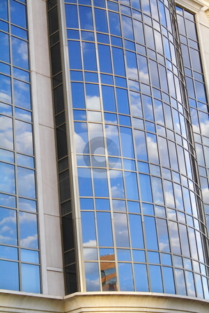 Blue Sky and Clouds Reflection stock photo, Blue sky and clouds reflected in building windows by Brian Harding