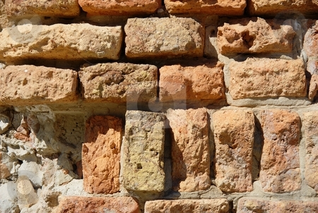 Urban decay wall stock photo, Urban decay wall texture with clay bricks by Milsi Art