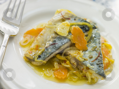 Plate of Sardine Escabeche stock photo,  by Monkey Business Images