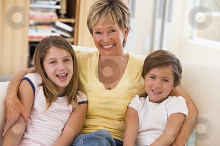Grandmother posing with grandchildren stock photo,  by Monkey Business Images