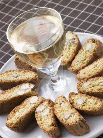 Hazelnut Cantuccini Biscotti with Dessert Wine stock photo,  by Monkey Business Images