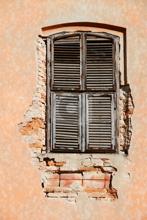 Vintage window stock photo, Old vintage unattained house window on ruined facade by Milsi Art