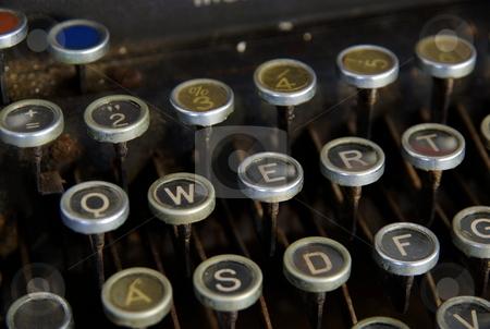 Vintage typewriter stock photo, Detail of vintage typewriter, close up on keys by Milsi Art