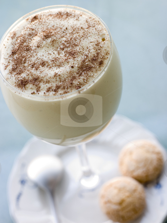 Glass of Zabaglione with Amaretti Biscuits stock photo,  by Monkey Business Images