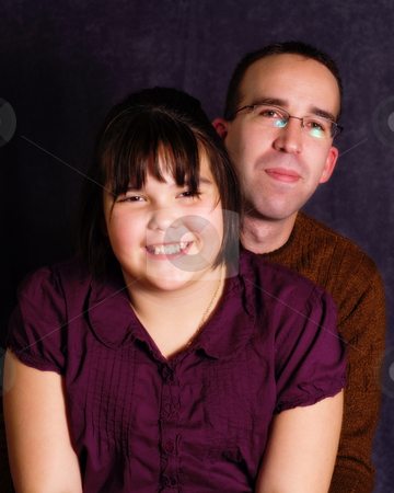 Father Daughter Portrait stock photo, A young father and his daughter, getting their portrait done together by Richard Nelson