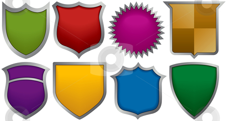 Eight badges for logos stock vector clipart, Eight badges for logos by Adrian Sawvel