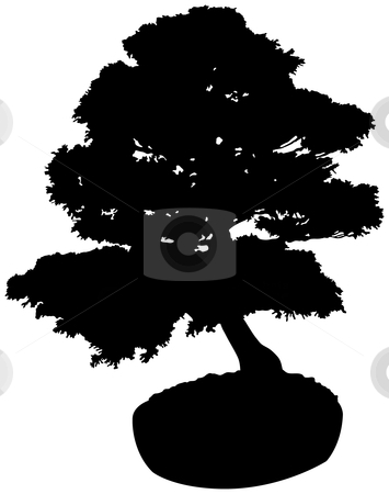 Bonsai Tree Silhouette stock vector clipart, Bonsai Tree Silhouette by Adrian Sawvel