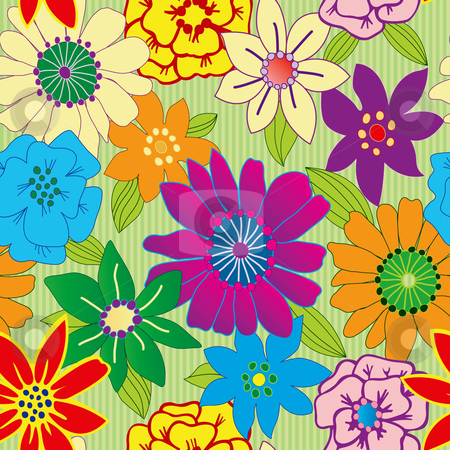 Colorful flower seamless repeating background stock vector clipart, Colorful flower seamless repeating background by Adrian Sawvel