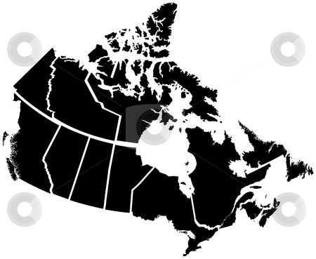 Detailed Map of Canadian Territories stock vector clipart, Detailed Map of Canadian Territories, each territory labeled on a seperate layer by Adrian Sawvel