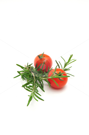 Two Cherry Tomatoes stock photo, Two Cherry Tomatoes and Thyme branches on a light colored background by Lynn Bendickson