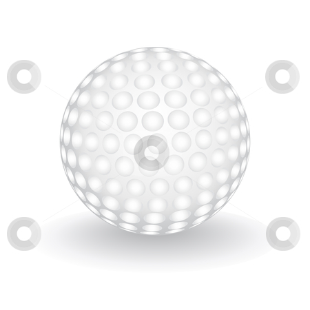 Golf ball stock vector clipart, Golf ball isolated over white, vector illustration by Tilo