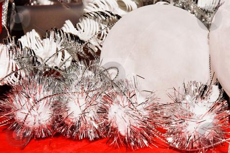 Xmas decoration ornaments   stock photo, Xmas decoration ornaments in white and silver and red by Karin Claus