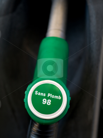 French green  unleaded 98 gas  pump  stock photo, French green  unleaded 98 gas  pump   closeup with black background by Laurent Dambies