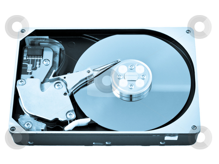 Open hard drive disk stock photo, Open hard drive disk isolated on white blue toned image by Laurent Dambies