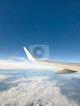 Airliner wing stock photo, Airliner wing with blue sky and moon by Laurent Dambies