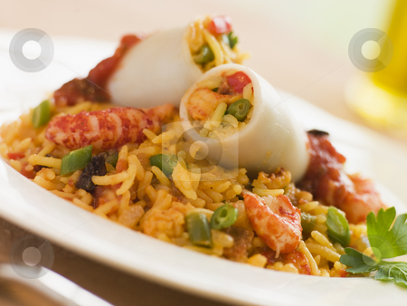 Baby Squid Stuffed with Saffron and Seafood Rice stock photo,  by Monkey Business Images