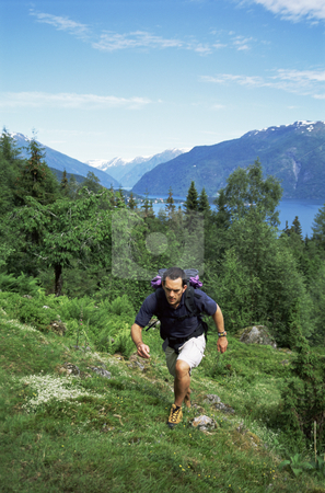Man hiking in the great outdoors,  stock photo,  by Monkey Business Images