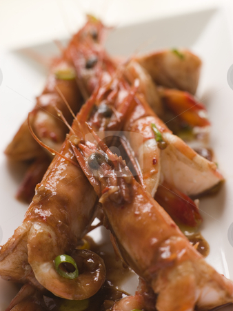 Butterflied Mediterranean Prawns with Chili Chocolate stock photo,  by Monkey Business Images