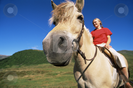 Young woman riding horse in rural setting stock photo,  by Monkey Business Images