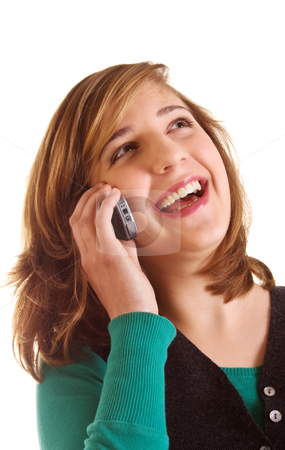 Happy conversation stock photo, Happy teenager girl speaking on mobile phone by Mikhail Lavrenov