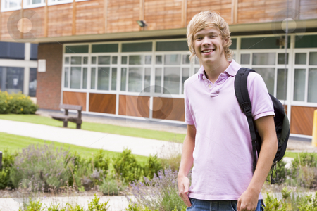Male college student on camera stock photo,  by Monkey Business Images