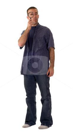 Detective stock photo, A young detective wearing casual clothing, isolated against a white background by Richard Nelson