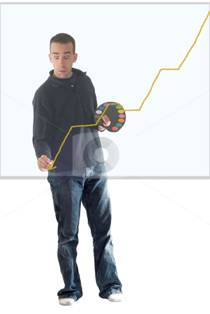 Sales Down stock photo, A young painter painting a graph arrow that goes down, on some transparent glass by Richard Nelson