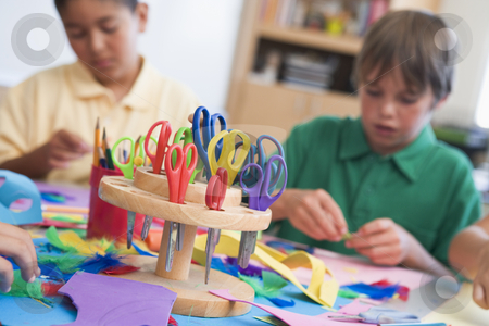 Elementary school art class stock photo, Elementary school art class with pupils by Monkey Business Images