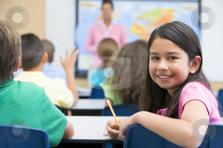 Elementary pupil in class stock photo, Elementary pupil in geography class by Monkey Business Images