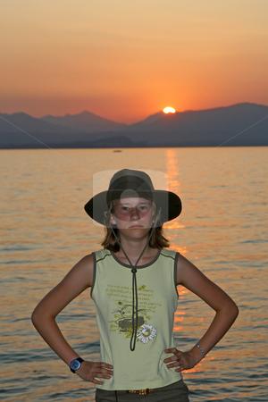 Indiana Jones stock photo, Indiana Jones in Lazise, 12 years old girl at the lake of Garda, Italy by Lothar Hinz