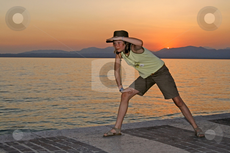 Indiana Jones stock photo, Indiana Jones in Lazise, 12 years old girl at the lake of Garda, Italy by Lothar Hinz