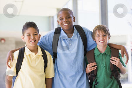 Group of elementary school friends stock photo, Group of male elementary school friends by Monkey Business Images