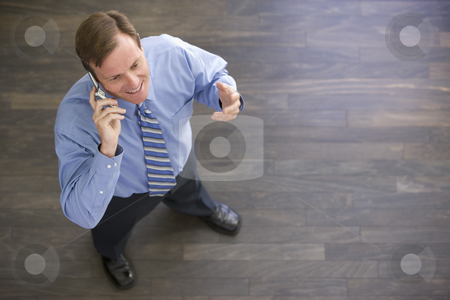 Businessman standing indoors using cellular phone and smiling stock photo,  by Monkey Business Images