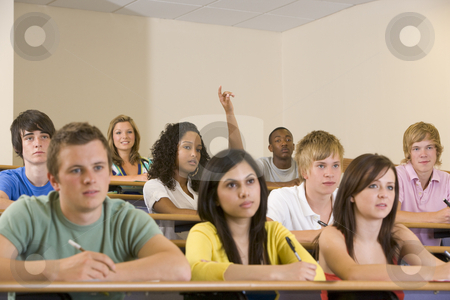 College student with hand raised in university lecture hall stock photo,  by Monkey Business Images